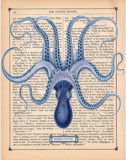 sea prints on vintage books