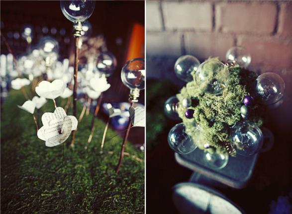 Steampunk wedding using repurposed lightbulbs via Sugar and Fluff
